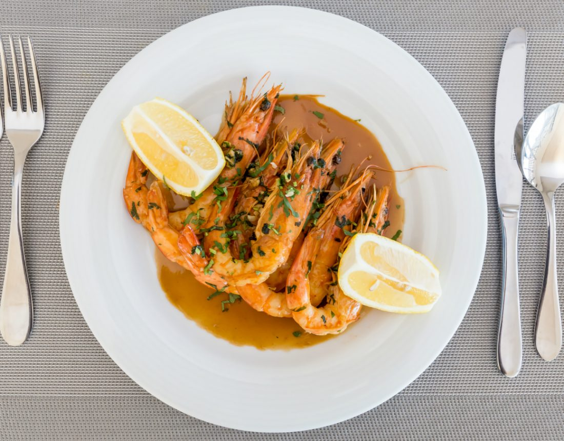 Prawns at Palmares Resort Restaurant